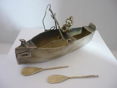 Stunning & Rare Unique Antique Handmade Solid Silver Fisherman In Fishing Boat