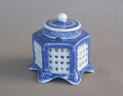 Antique Blue & White Oriental 3 Pc Inkwell