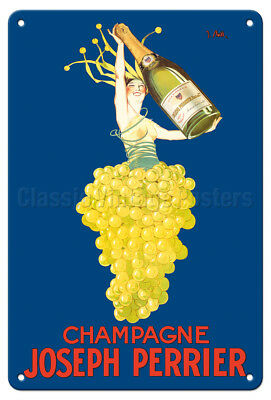 Champagne Joseph Perrier J. Stall 1926 Vintage Advertising Poster Metal Tin Sign
