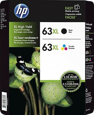 HP Genuine 63XL Black + Color Ink Cartridges In OEM Bags EXP 2019