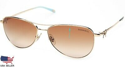 fc8622ab5bf4d NEW TIFFANY   Co. TF3044 6021 64 PALE GOLD  BROWN LENS SUNGLASSES 58mm