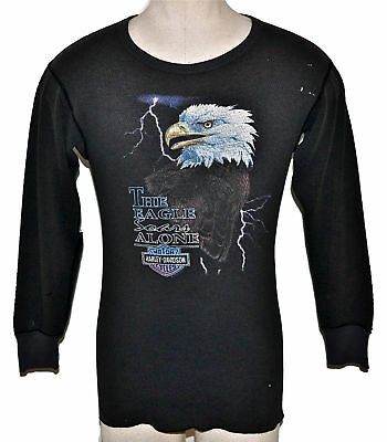 Vintage 80s HARLEY DAVIDSON The Eagle Soars Alone Long Sleeve Thermal T SHIRT M
