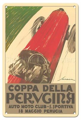 Coppa Della Perugina Perugia Italy Seneca 1924 Car Racing Poster Metal Tin Sign