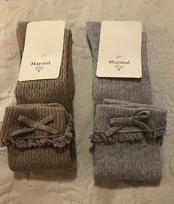 Girls Knee High School Socks Mayoral Size 8 Years New With Tags Gray or Tan
