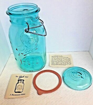 VIntage Ball IDEAL Blue Aqua Mason Quart Jar Bicentennial Celebration 1776-1976