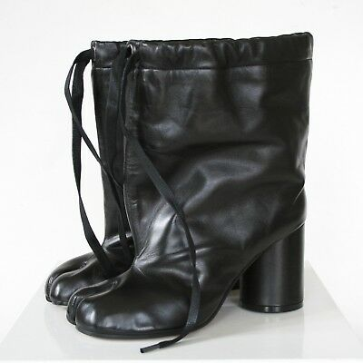 b1435f5f13e MAISON MARTIN MARGIELA split toe black leather high heel shoes tabi boots  38 NEW