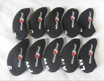 10PCS Golf Club Headcovers for Wilson Staff Iron Covers Neoprene 4-LW BLK&BLK