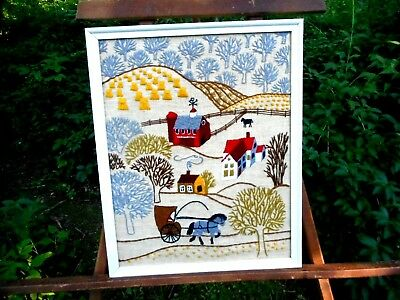Vintage Crewel Art Wall Hanging Country Decor Farm Scene Horses Free USA Ship