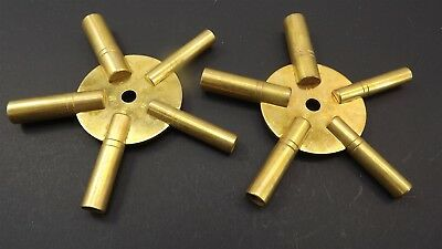 New 5 Way Brass Clock Winding Key Even and Odd Numbers one pair 2-piece