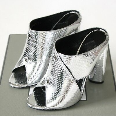 a8a2cfe024 TOM FORD metallic silver ayers snakeskin high heel slide mules sandals 37  NEW
