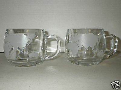 Vintage Nestle Nescafe'  Etched Glass Globe World Map Coffee Mugs - Set of 2