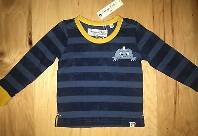 Nwt Sovereign Code Baby Boys Navy Blue Striped L/s Monster Tee Size 12M Ld 4