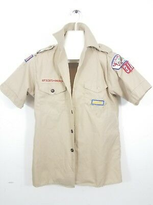 BSA BOY SCOUTS OF AMERICA KHAKI COTTON BLEND UNIFORM SHIRT-YOUTH LARGE Indiana