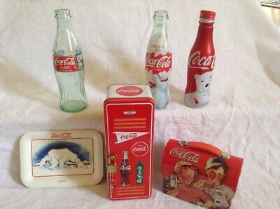 Miniature Coke Coca-Cola Lunch Box Ornament Tin Metal Red Boys Drinking Pop