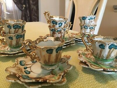 Beautiful Hand-Painted Gold Trim Tea Cups and Saucers w/Cherubs