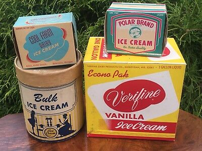 Group Of Vintage Ice Cream Containers Boxes Dairy Soda Fountain Advertising #1