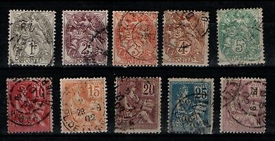 France 1900 Blanc and Mouchon types selection to 30c Used