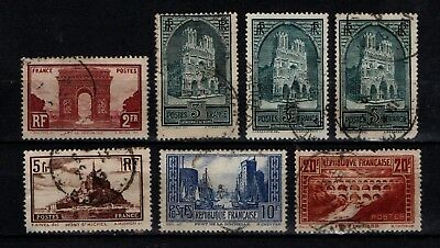 France 1929 Views to 20f SG471-75 inc three types 3F (missing 90c) Used see note