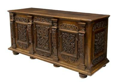FRENCH RENAISSANCE STYLE CARVED WALNUT CHEST, 18th century  (1700s)