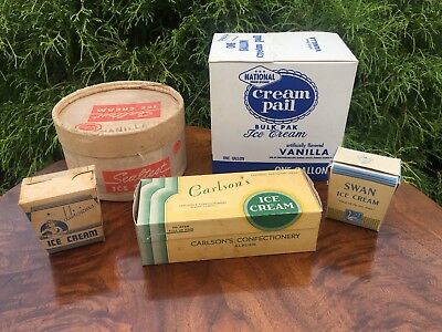 Group Of Vintage Ice Cream Containers Boxes Dairy Soda Fountain Advertising #2