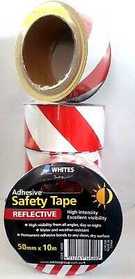 10 x 10m Hi-Vis Reflective Tape Self-Adhesive Safety Warning Conspicuity Tape