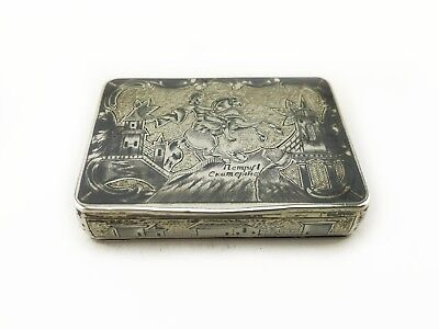 A 19th C. Antique Russian Gilded 84 Silver & Niello Snuff Box