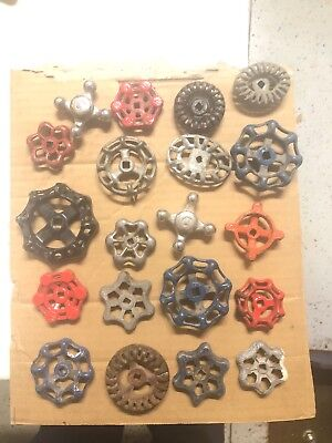 Vintage old water valve handles lot of 20 iron metal and aluminum