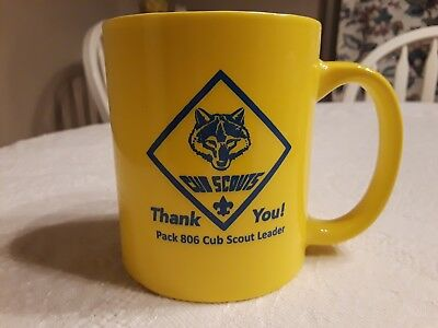 Cub Scouts Coffee Mug Cup yellow blue wolf pack 806 Boy Scouts Of America