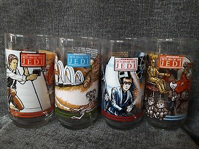"1983 Burger King Coca Cola STAR WARS ""RETURN OF THE JEDI"" Glasses Set Of 4 VTG"