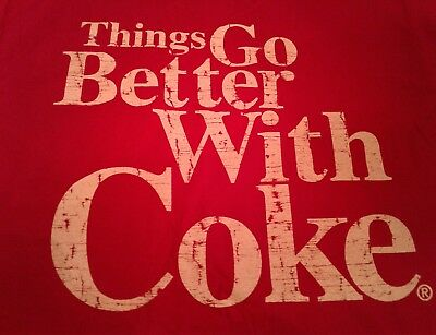 Coke Shirt Things Go Better With Coke Red Coca Cola T-Shirt soda L Large NEW pop
