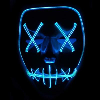 LED Mask EL Wire Scary Light up Party Halloween Mask Cosplay Costume Props DE