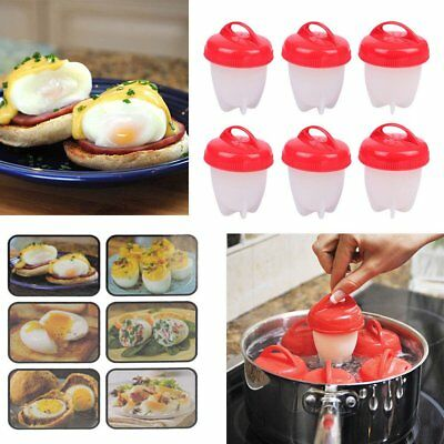 6Pcs Set Egg Cooker Egg Boiler Food Grade Silicone Cups Easy Use Kitchen Tool