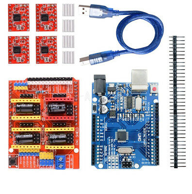 CNC Shield V3.0+ UNO R3 Board + A4988 Driver + Heatsink Kits for Arduino CNC NEW