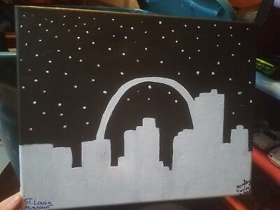 Skyline of St. Louis. Done in black and white by a young amateur artist.