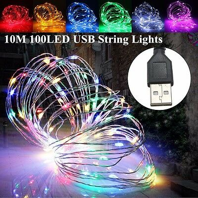 USB 10M 100 LED Copper Wire Flexible String Fairy Light Xmas Wedding Party Lamp