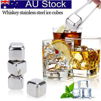 Reusable 4 Pcs Ice Cube Stainless Steel Cooler Stones Glacier Rocks Home Wine AU