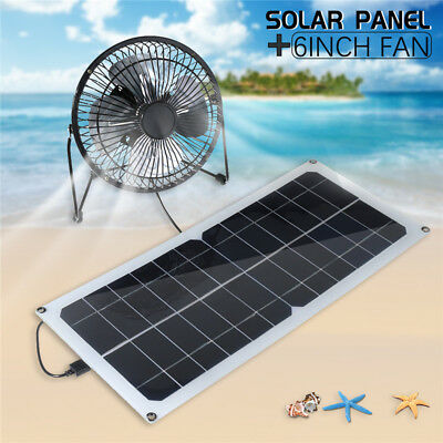 10W 12V Solar Panel +6'' Fan RV Touring Car Camping Pet Chicken House Ventilator