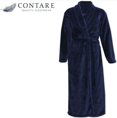 CONTARE Men's Country Coral Fleece Dressing Gown Luxury Bath Robe - Navy Blue