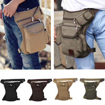 Men Canvas Tactical Motorcycle Riding Hiking Fanny Pack Waist Thigh Drop Leg Bag