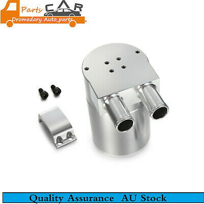 19mm Barb Silver Billet Aluminium Double Baffled Close Loop Engine Oil Catch Can