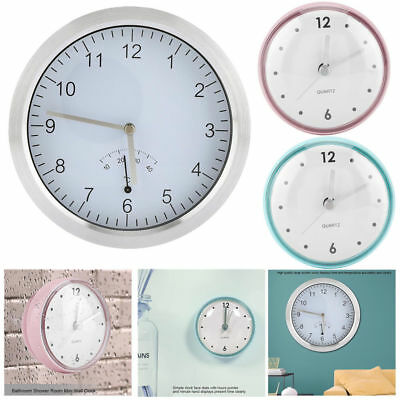 Round Small Wall Clock Suction Cup Clock Home Bathroom Bedroom Decor Durable New