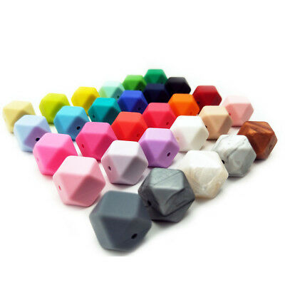 Hexagon Silicone Beads Baby Teething Teether For Necklace Bracelet DIY Chew Toy