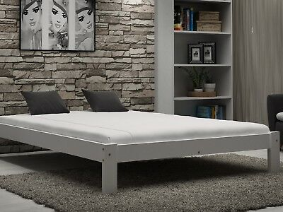 WOODEN BED FRAME Grey 4ft Small Double with mattress 120x190