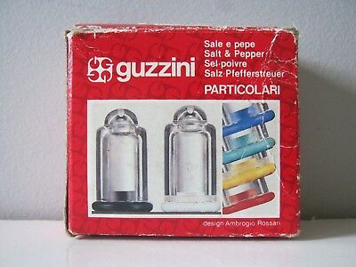 Vintage GUZZINI ITALY Salt & Pepper Shakers Set RETRO Lucite Plastic - As new!