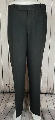 Vintage Mens 1980s Grey Check Tapered Wool Blend Trousers W36 L31 GY78