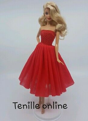 New Barbie doll clothes outfit princess wedding cocktail ballet dress red