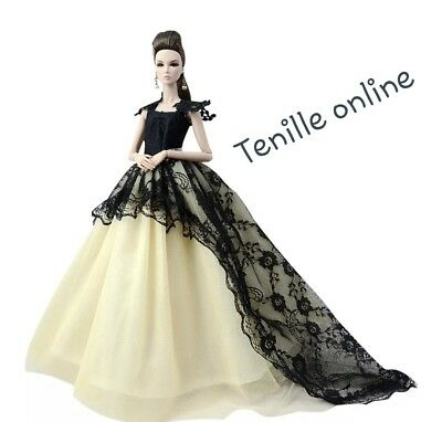 New Barbie doll clothes outfit princess wedding cocktail dress cream and black