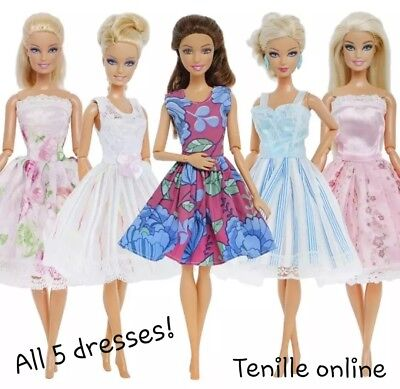New Barbie doll outfits clothes dress x5  Aussie seller fast postage