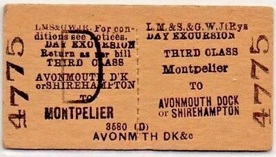 LM&S & GW Railways Joint Ticket Montpelier to Avonmouth Dock or Shirehampton