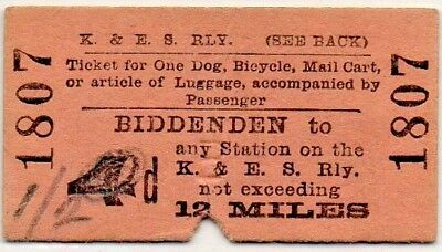 Kent & East Sussex Railway Ticket Biddenden to Any Station 4d - Dog